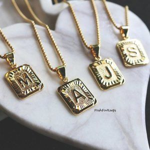 Other - 18K Gold Plated Initial Medallion Letter Necklace